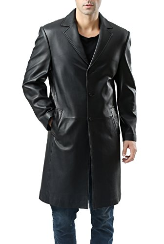 - BGSD Men's Classic New Zealand Lambskin Leather Long Walking Coat - Big 2XL Black