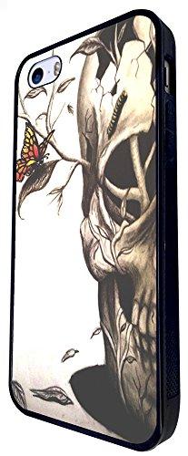 463 - Sugar Skulls Skull Branch In Head Design iphone SE - 2016 Coque Fashion Trend Case Coque Protection Cover plastique et métal - Noir