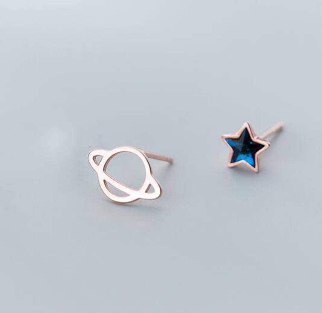 S&RL Pendientes de Plata S925 Pendientes de Estrella de Diamante Azul Dulce Pequeño Japonés Fresco para Mujer Joyas de Planeta Asimétricas Simplesoro y rosa, Plata 925
