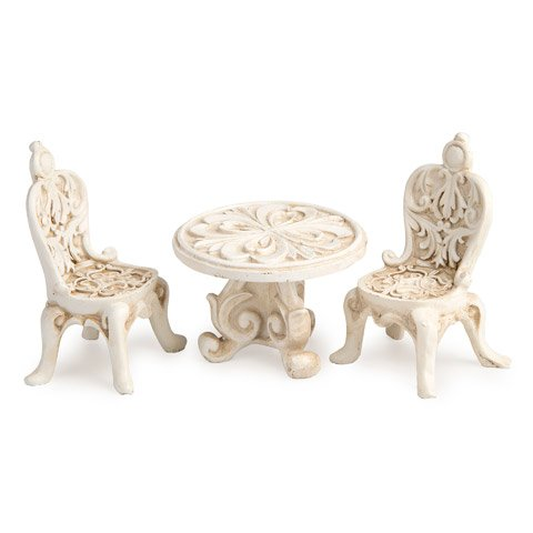 DARICE Mini Fairy Garden Fancy Resin Ivory Table and 2 Ch...