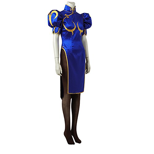 MYYH Anime Chun Li Cosplay Women Fighter Blue Dress Halloween Cosplay -