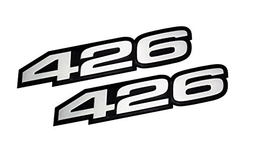 VMS Racing 2X (Pair/Set) 426 Silver on Black Highly Polished Aluminum Emblems