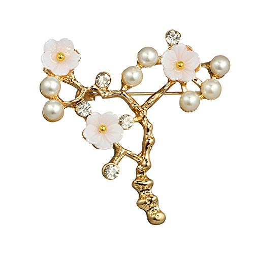 MINGHUA Brooch for Wedding Prom Simulated Pearl Shell Beaded Plum Blossom Branch Golden Brooch pin Ladies Clothing Accessories (Beaded Blossom)
