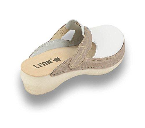 Dames Cuir Chaussures Chaussons Leon PU153 Mules en Marron Sabots Femme FqWSvZ8