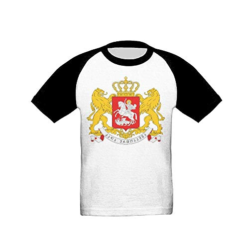 Greater Coat of Arms of Georgia Fashion Unisex Cotton Short-Sleeved T-Shirt Boy T Black