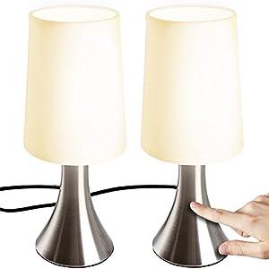 Jago® Lampe de Table Tactile – Lot de 2, avec Abat-Jour en Tissu, Ampoule E14, Max. 60 W ou LED Dimmable, Hauteur 29.5…