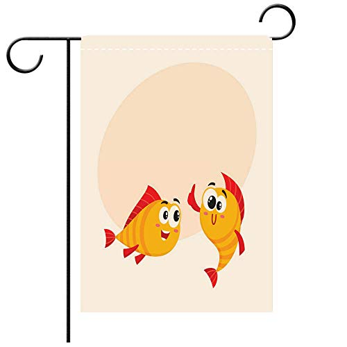 BEICICI Double Sided Premium Garden Flag Two Golden Fish Characters, Showing Thumb up, Looking with Interest Decorative Deck, Patio, Porch, Balcony Backyard, Garden or Lawn