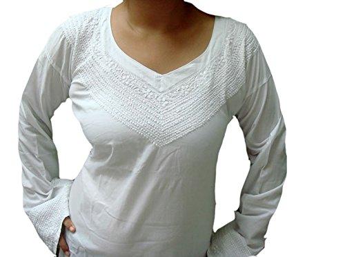 Jayayamala Damen Tunika plus Größe Hand gestickt weiß Baumwoll-Tunika Boho Top