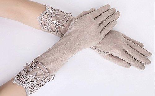 formanism エレガント レース使い 夏用 紫外線カット 外出 日焼け防止 サマー手袋 レディース (D)