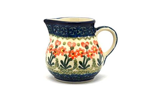 Polish Pottery Creamer - 4 oz. - Peach Spring Daisy