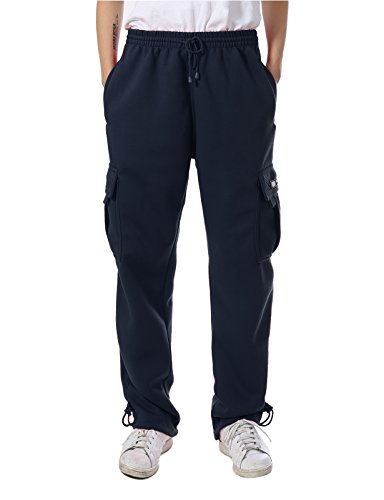 (JD Apparel Mens Regular Fit Premium Fleece Cargo Pants 2XL Navy)