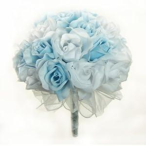 Light Blue and White Silk Rose Hand Tie (3 Dozen Roses) - Bridal Wedding Bouquet 58