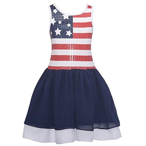 Bonnie Jean Little Girls Sequin American Flag Red White Blue Patriotic Sun Dress (16) ()