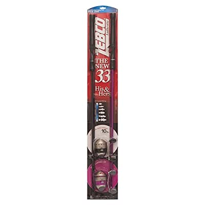 "Zebco/Quantum 33KHH, 10C, BP6 Zebco/Quantum, 33 His & Her Spincast Combo, 3.6: 1 Gear Ratio, 5'6"" 2pc Rod, 6-12 lb Line Rate"