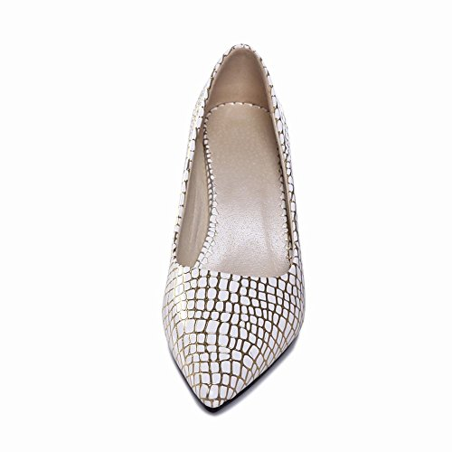 Charm Foot Womens Fashion Kitten Heel Office Lady Pumps Shoes Gold HqpFGROmF