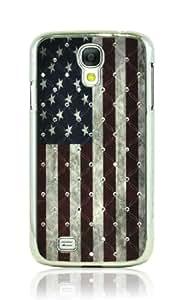 LiViTech(TM) Retro style Design UK/USA Flag Rhinestone Diamond Bling Hard Back Cover Case for Samsung Galaxy S4 i9500 (USA 1)