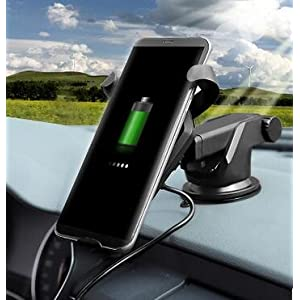 Wireless Fast QI Charger Car Mount Air Vent Dock Phone Holder Cradle (Gravity Linkage) for iPhone 8/ 8 Plus/ X, Android, Nokia, Samsung Galaxy Note 5/ 8 / S8+/ S7/ S6 Edge+ GOOD FOR HOME & OFFICE