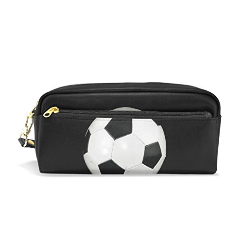 LEISISI Black and White Football School Pencil Bag PU Leather Stationery Pouch Case Women Cosmetic Bag Large Capacity