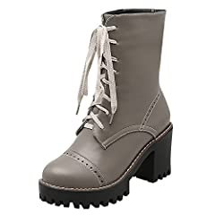 aea12464ee82 Women s Comfort Lace up Platform Chunky High Heel Motorcycle ... by Carolbar  ·  32.00 · Women s Retro Buckle Fashion Pierced Low Heel Knee-High Summer  Boots