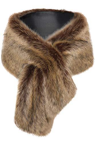 BABEYOND Womens Faux Fur Collar Shawl Faux Fur Scarf Wrap Evening Cape for Winter Coat (Camel)