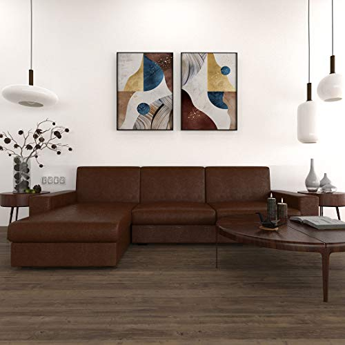 Sekar Lifestyle Compact L Shape Leatherette Sofa Set for Living Room  3 1, RHS, Brown