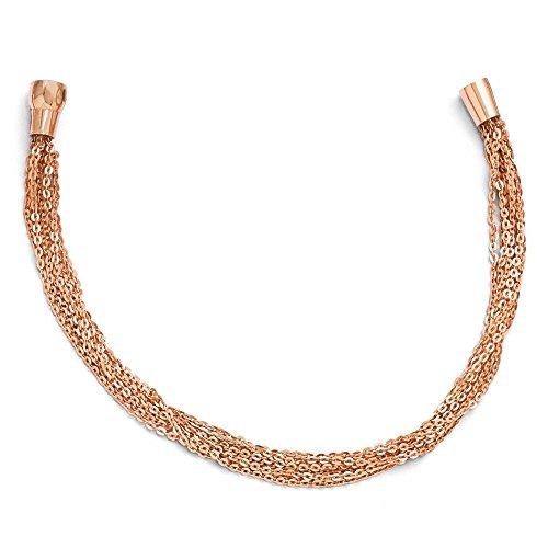 Argent Sterling plaqué or Rose Multi-rangs perles-JewelryWeb 7,5 cm