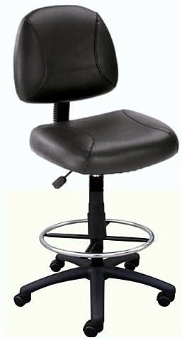 Black Leather Plus Drafting Bar Counter Stool With Chrome Footring Kit ()