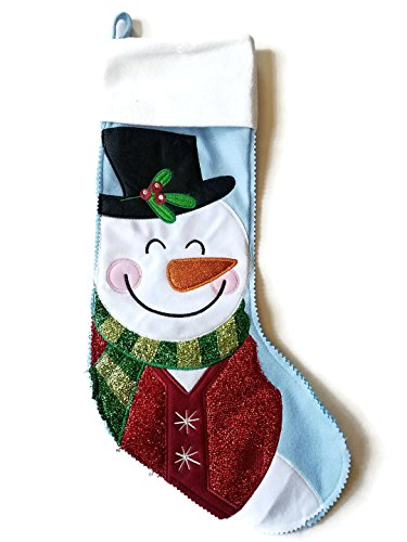 Celebrate It Set of 2 Snowman 22 Inches Christmas Stocking (Blue and White) ()