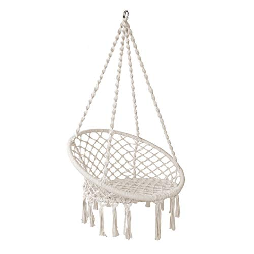 Chihee Hammock Chair Tassel Swing Beige Hanging Chair,Cotton-Woven Rope Macrame Hammock Swing Chair for Indoor Outdoor Home, Patio, Porch, Deck, Yard, Garden (Garden Woven Chair)