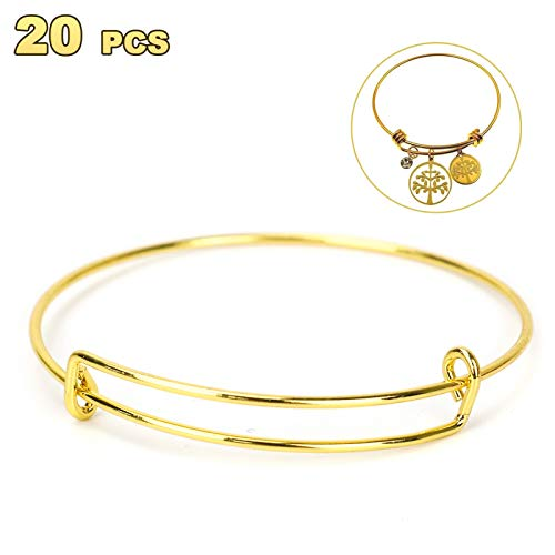 Timoo 20 Pcs Metal Blank Bangles, Stainless Steel Adjustable Expandable Wire Blank Bracelets for Women's DIY Jewelry Making (Gold, 2.56inches)