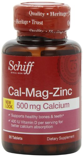 Schiff Cal-Mag-Zinc Calcium Magnésium Zinc 500mg avec vitamine D 400 UI Supplément, 90 comte (Pack de 4)
