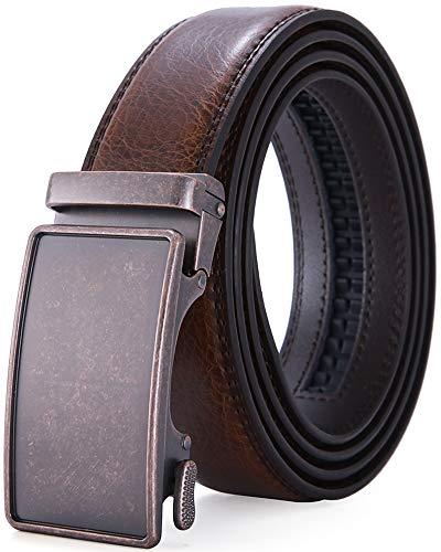 [해외]Men`s Leather Belt with Automatic Buckle 35mm wide Ratchet Dress Belt  -Trim to Fit / Men`s Leather Belt with Automatic Buckle 35mm wide Ratchet Dress Belt  -Trim to Fit (A0156, Waist:26-45)