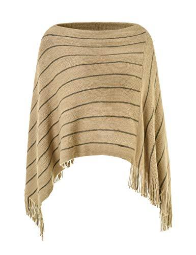 Ferand Women's Striped Poncho Sweater Cozy Warm Wrap Shawl in Multi-Way Neck Style, One Size, ()