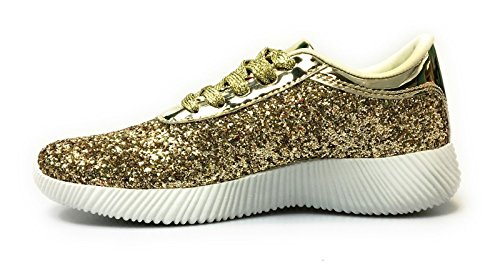 Zapatillas Con Cordones Retro Para Mujer Oxford Lace Up Plataforma Con Cuña (6, Gold-yes19)