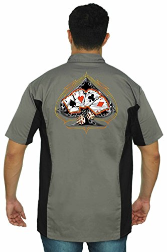 Poker Bike (Men's Mechanic Work Shirt Spades 4 of a Kind with Dice Grey/Black (Medium))