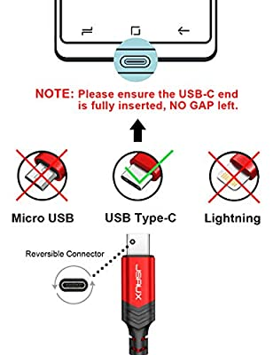 USB Type C Cable,JSAUX USB A 2.0 to USB-C Fast Charger Nylon Braided USB C Cable Compatible Samsung Galaxy S10 S9 S8 Plus Note 9 8,Moto Z,LG V30 V20 G5,Nintendo Switch,USB C Devices