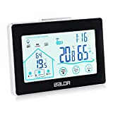 ATETION Indoor Outdoor Thermometer Digital Wireless Hygrometer Weather Station Wireless Temperature and Humidity Monitor with Current Time Backlight and Outdoor Sensor