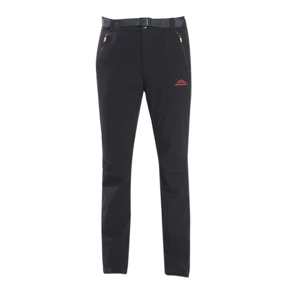 Ecurson メンズ アウトドア 速乾 軽量 防水 ハイキング マウンテンパンツ ズボン 取り外し可能 FOA 6XL ブラック B07NNB96GJ