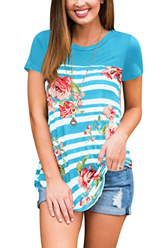 FAVALIVE Womens Round Neck Tunic Tops with Sleeves Summer Clothes Light Blue M