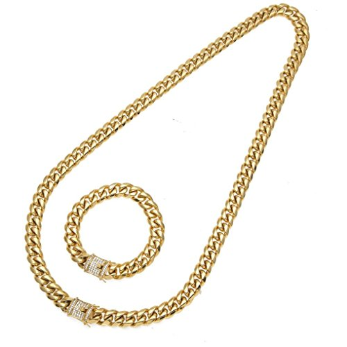 Owill 10mm Cubano Stainless Steel Necklace Rhinestone Clasp Hip Hop Chain Necklace Bracelet Set (Gold) Cubano Set