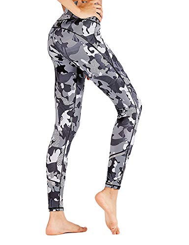 Hioinieiy Womens Camo Printed Leggings High Waisted Camouflage Workout Sport Gym Spandex Yoga Pants for Women Juniors Teens Gray M ()