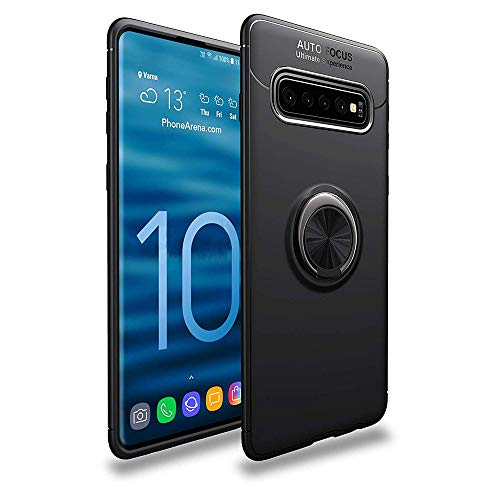 Lozeguyc Galaxy S10 Case,Soft TPU Hidden Kickstand S10 Back Case with Magnetic Car Mount Holder Kickstand Drop Protection Defender Case for Samsung Galaxy S10-Black
