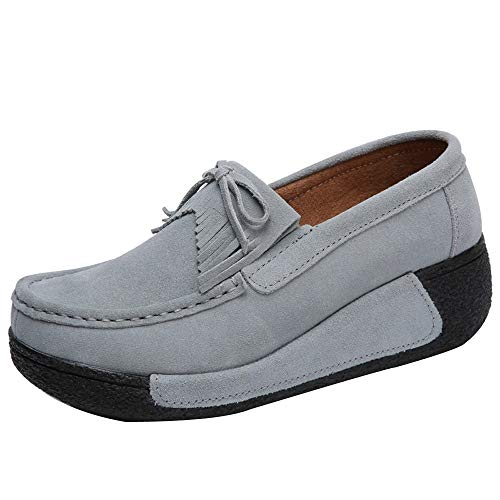 - Sherostore ♡ Women's Leather Platform Slip On Loafers Comfort Moccasins Low Top Casual Shoes Gray