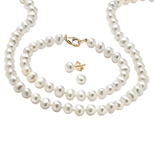 Genuine White Cultured Freshwater Pearl 3-Piece Set in 14k Gold over .925 Silver 18