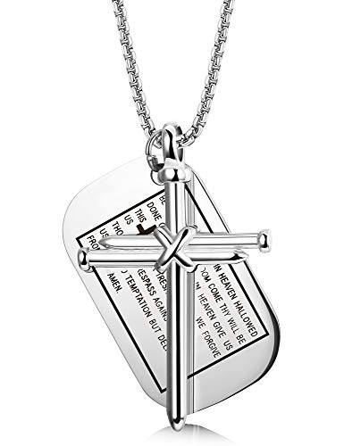 (Finrezio Stainless Steel Dog Tags Nail Cross Necklaces for Men Prayer Cross Necklace Military Rolo Chain 3mm 24 inch (Silver-Tone))