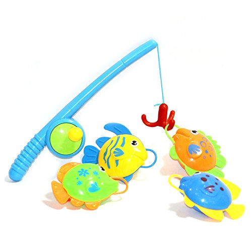 BBLIKE Fishing Game Toy Floating Bath Toy 4pcs Cute Fish- Pro Version More Funny and More Easily to Catch Fish Best Gift for Children Boys Girls Bath Time Fun