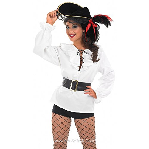 Mens Pirate Gothic Musketeer Shirt Caribbean White Shirts Hen Party Costume  ...