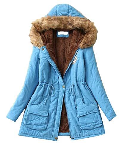 Sleeve Fur Womens Slim Long 7 Parka Collar TTYLLMAO Fit Hooded Jacket Outwear Warm wqTx6t