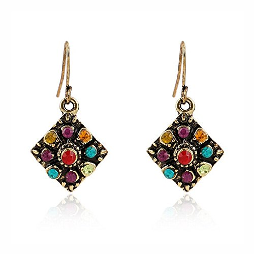 HIRIRI Hot Sale Fashion Women Girls Bohemian National Style Retro Colorful Rhinestone Earrings (Multicolor) ()