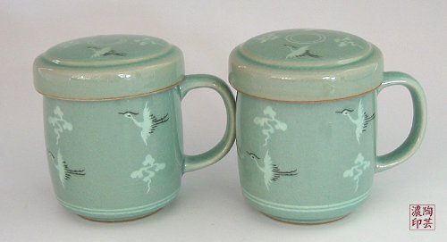 2 Celadon Jade Blue Glaze Crane Bird Cloud Design Personal Green Ceramic Pottery Porcelain Tea Coffee Cup Mug Teacup Lid Gift Set by Antique Alive Tabletop